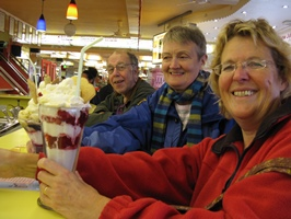 Enjoying ice-cream sundaes in Alonzi's Harbour Bar