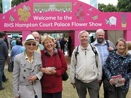 Visitors to the Hampton Court Flower Show.